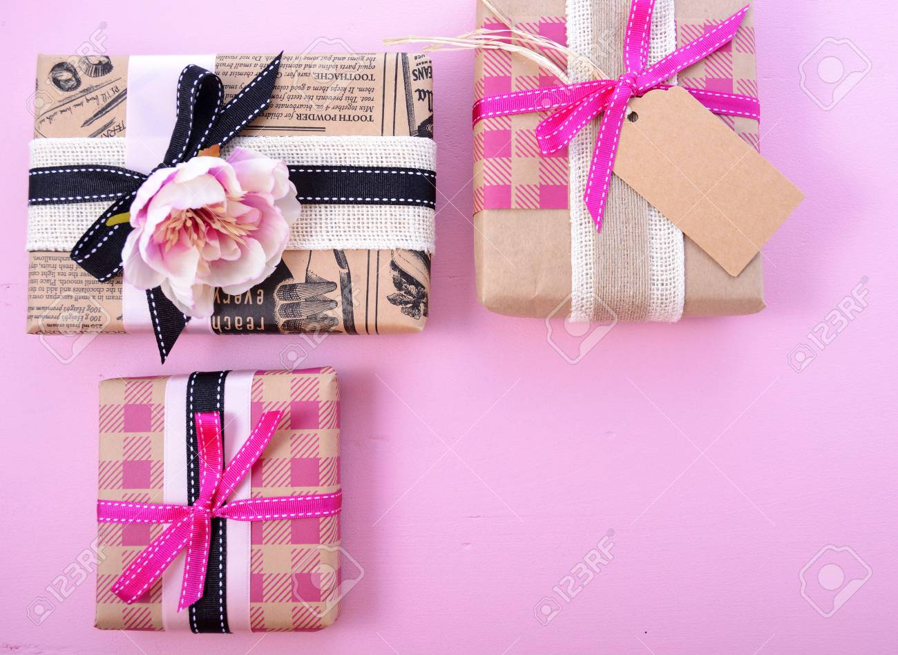 Happy Mothers Day Vintage Style Wrapped Gifts On Pink Wood ...
