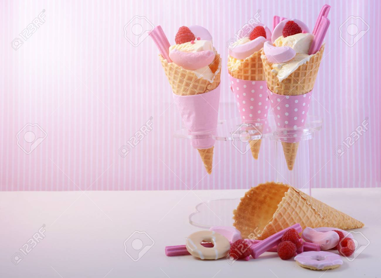 summer is here themed vanilla ice creams in wafer cones with stock