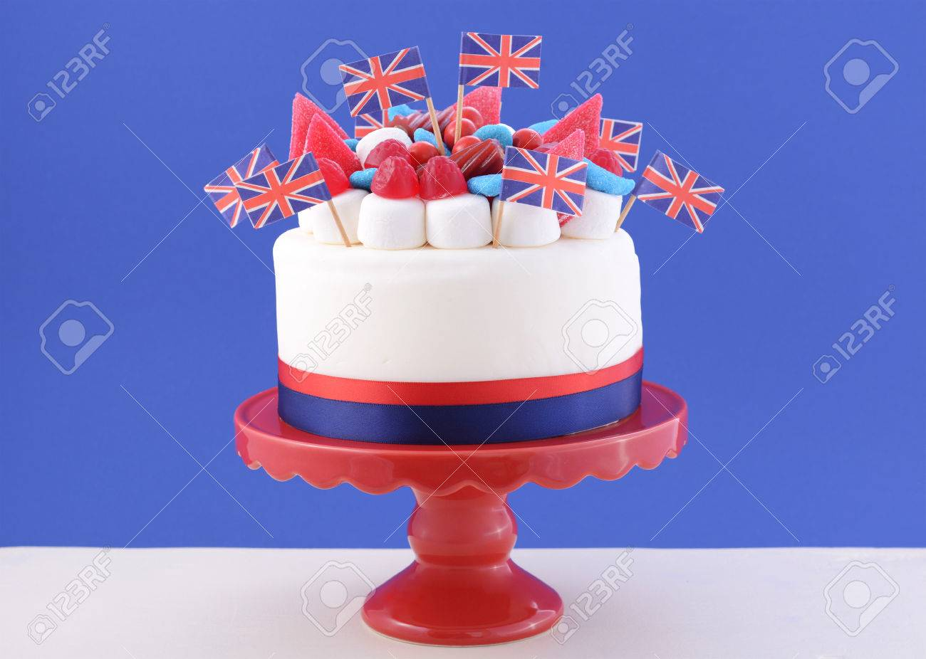 uk celebration cake with flags marshmallow and candy decorations