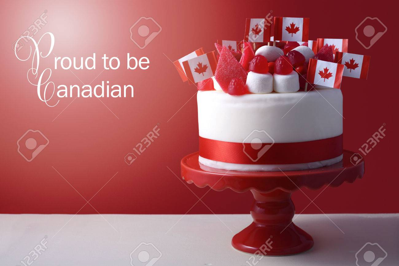 Miraculous Happy Canada Day Celebration Cake With Flags Marshmallow And Funny Birthday Cards Online Chimdamsfinfo