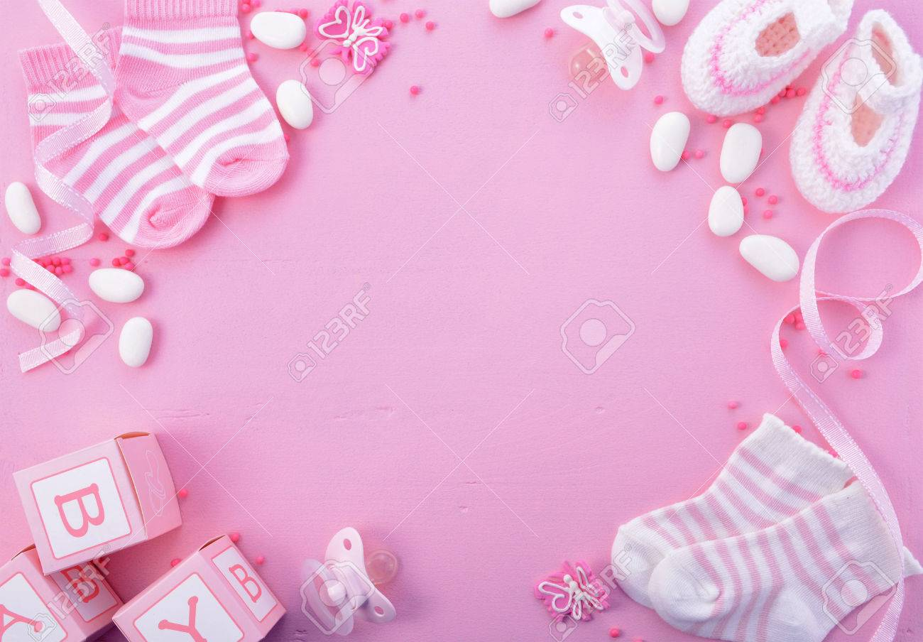 Its A Girl Pink Theme Baby Shower Or Nursery Background With Stock Photo Picture And Royalty Free Image Image 60926527