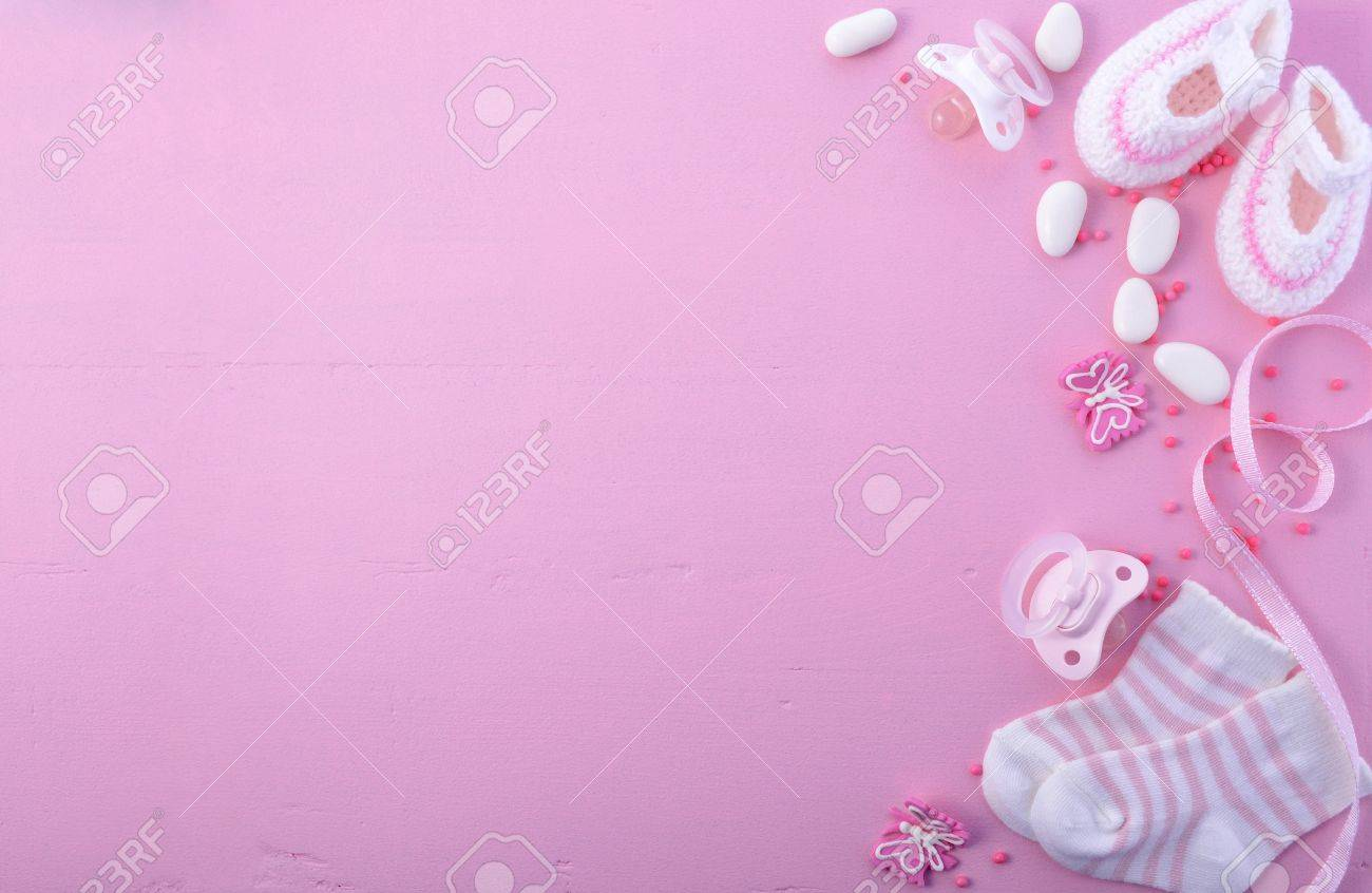 Its A Girl Pink Theme Baby Shower Or Nursery Background With Stock