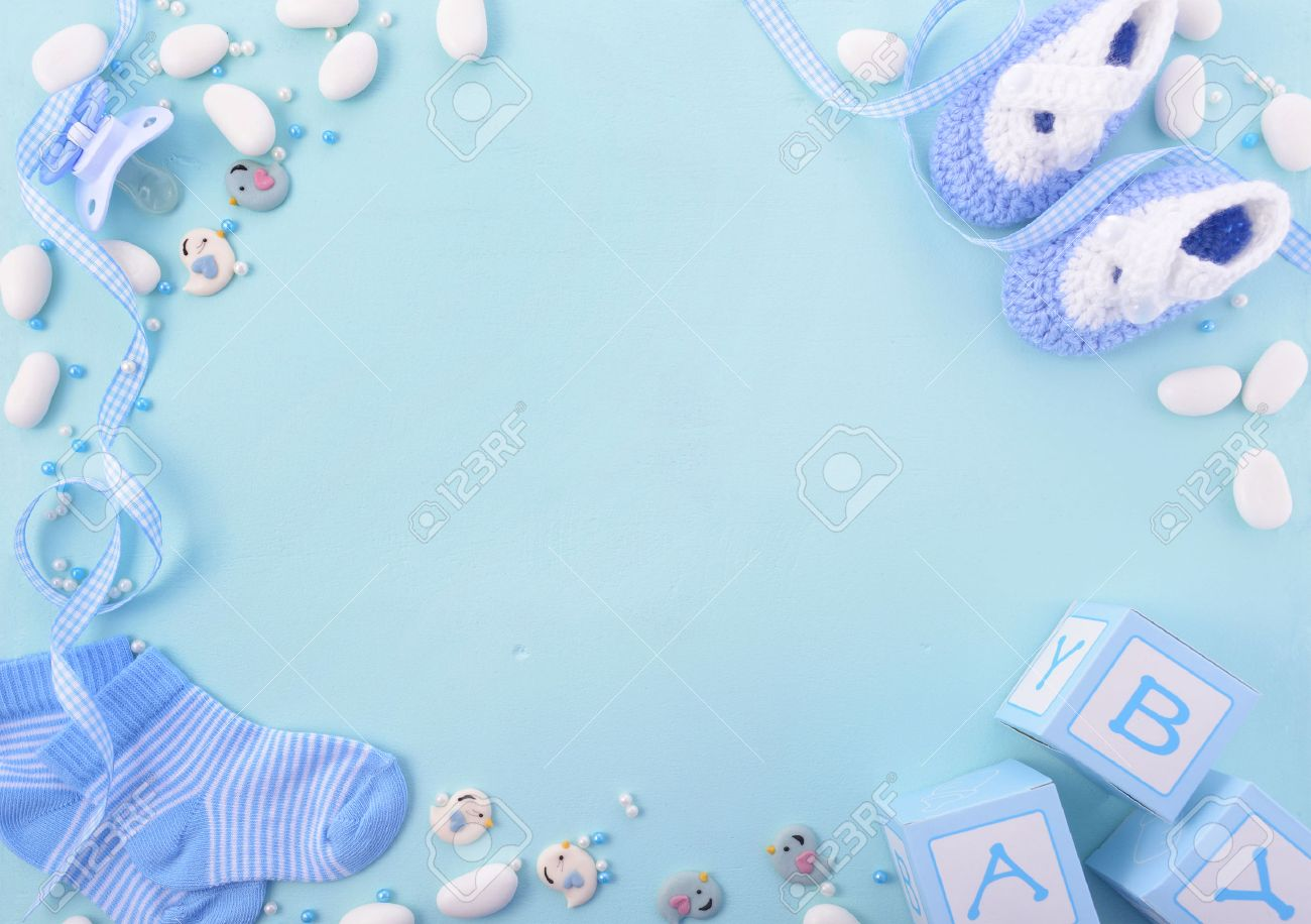 Its A Boy, Blue Theme Baby Shower Or Nursery Background With Decorated  Borders On Pale