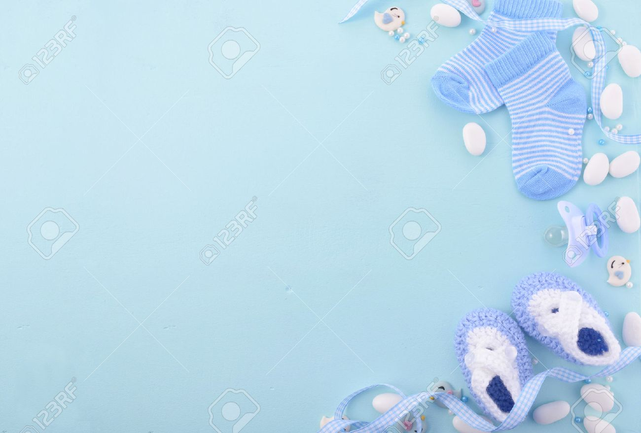 Great Its A Boy, Blue Theme Baby Shower Or Nursery Background With Decorated  Borders On Pale