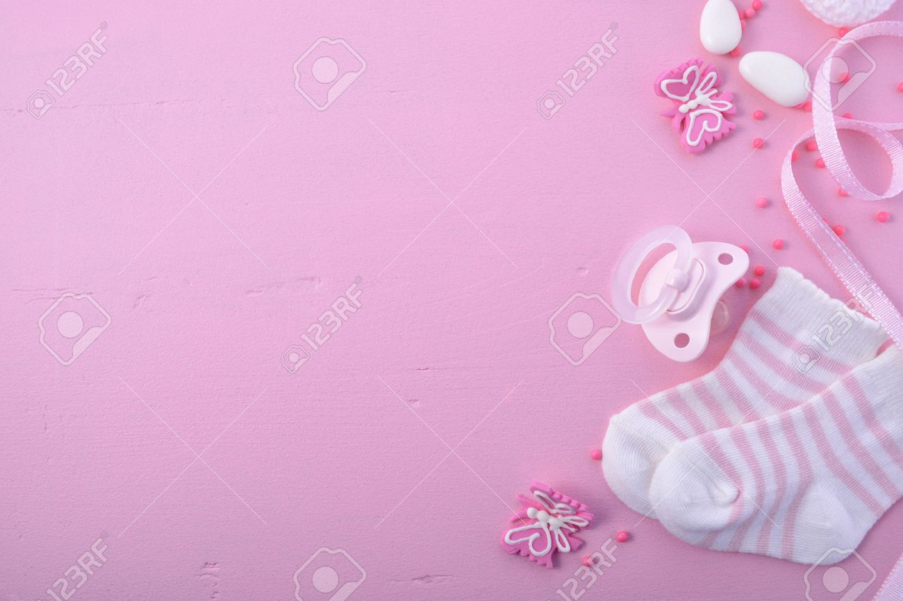 Attractive Its A Girl Pink Theme Baby Shower Or Nursery Background With Decorated  Borders On Pink Wood