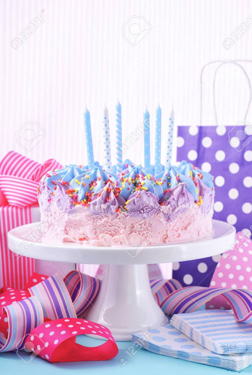 Remarkable Childrens Pink And Blue Ice Cream Birthday Cake With Candles Personalised Birthday Cards Veneteletsinfo