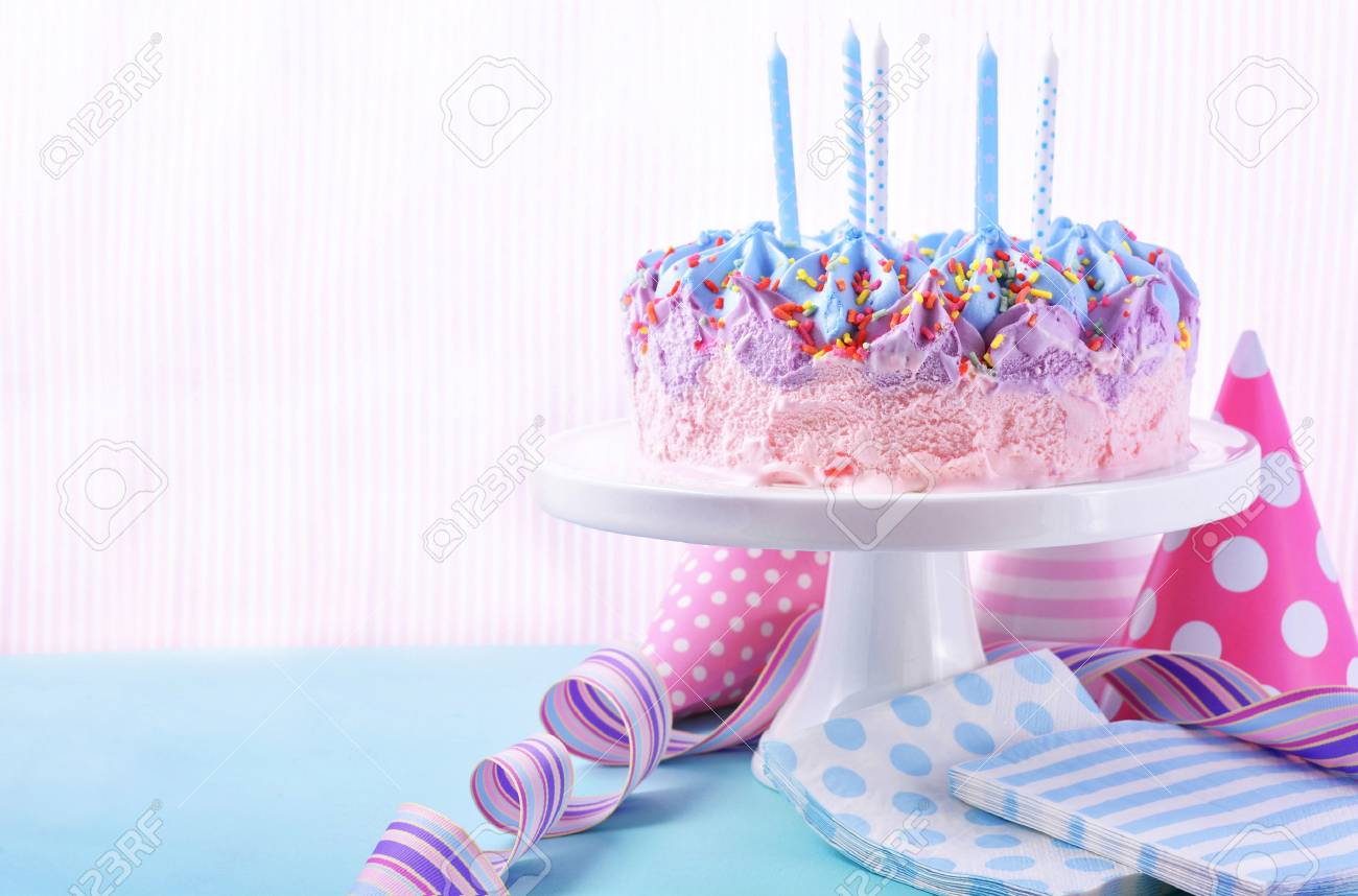 Incredible Childrens Pink And Blue Ice Cream Birthday Cake With Candles Personalised Birthday Cards Veneteletsinfo