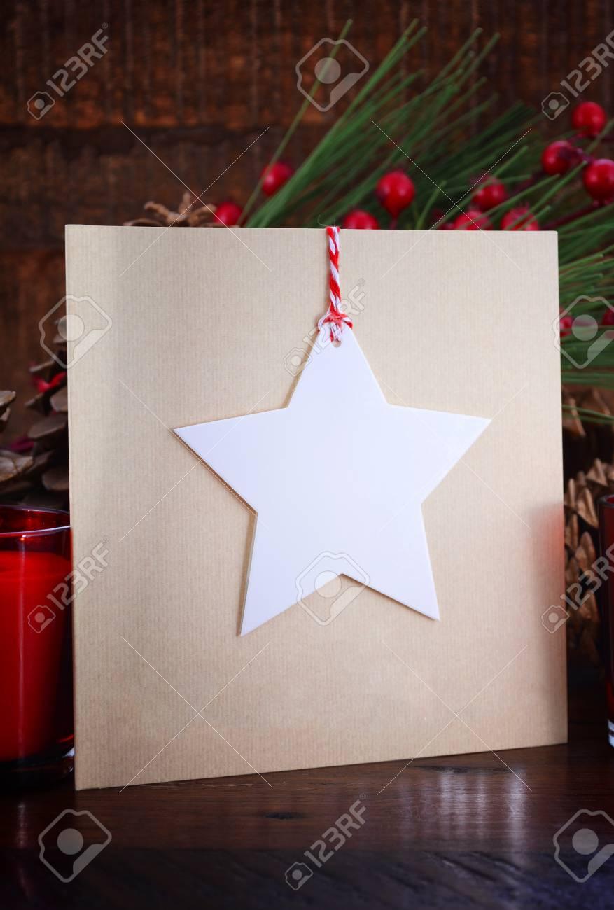 Handmade Christmas Greeting Card Using Cutout Shapes On Natural