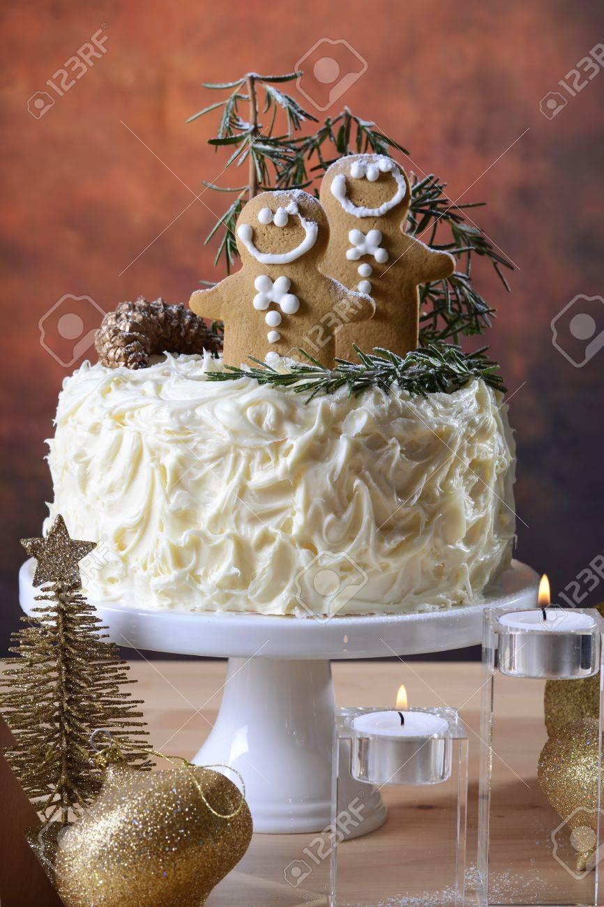 Festive Holidays Christmas Centerpiece White Chocolate Cake