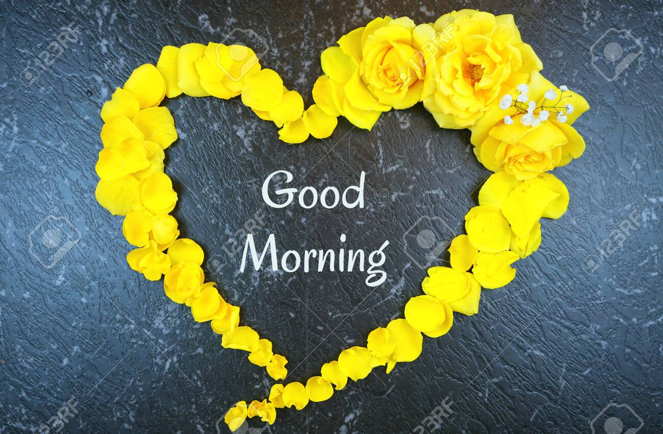 Good Morning Concept With Text Inside Heart Made From Fresh Yellow Stock Photo Picture And Royalty Free Image Image 124972320