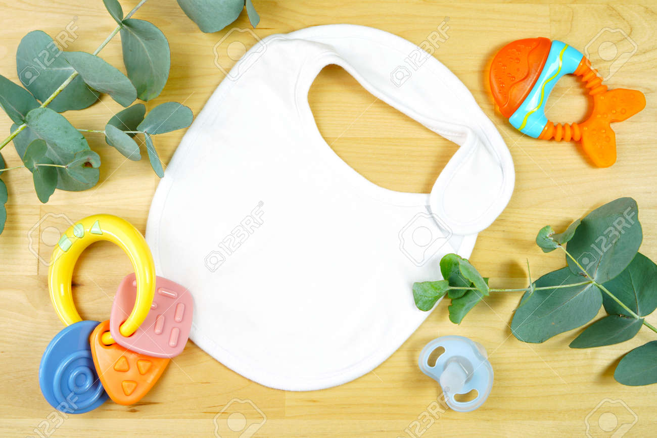 Light natural theme baby apparel top view flat lay. Mock up - 164233464