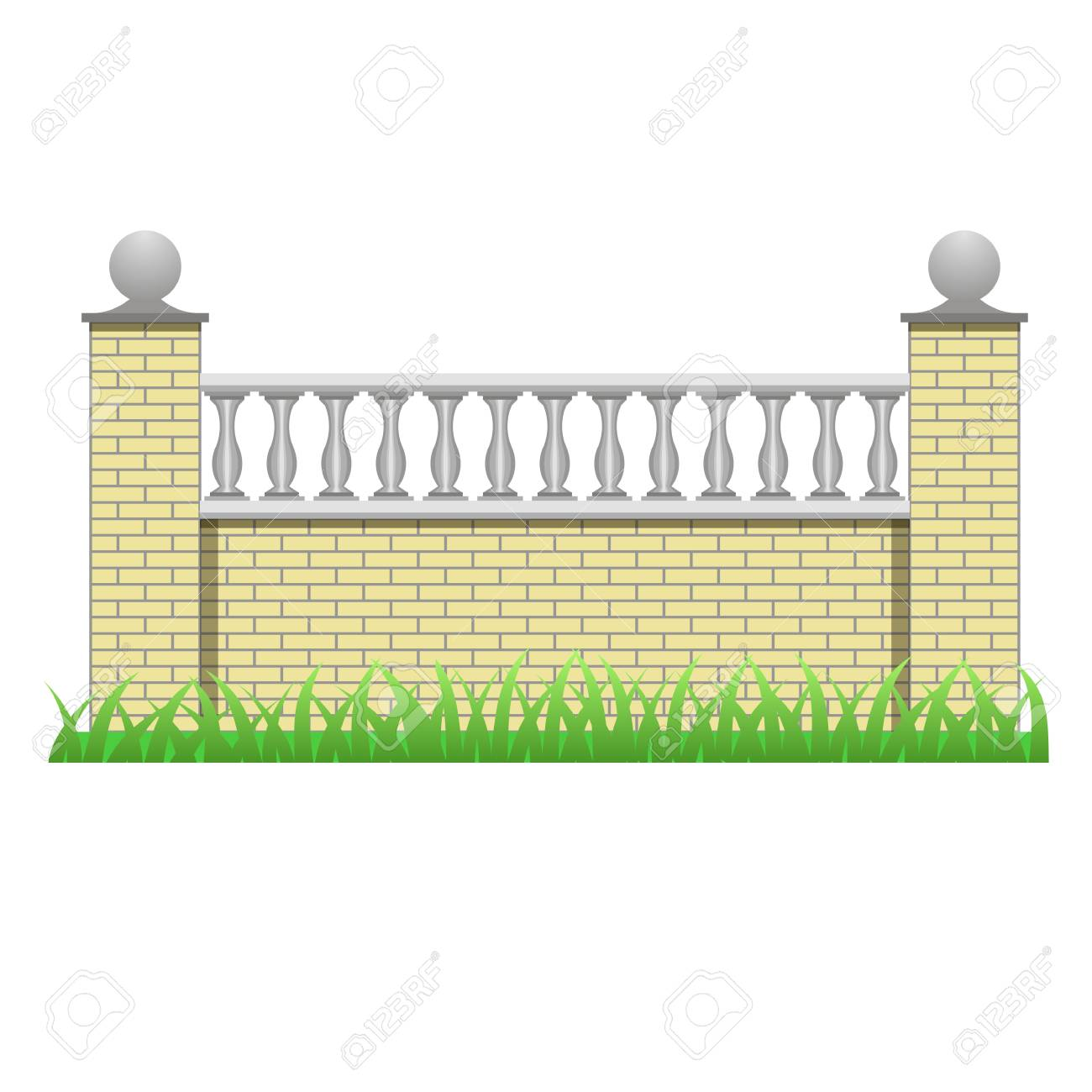 Brick Fence Decorated With Balusters. Element To Use In Manor ...