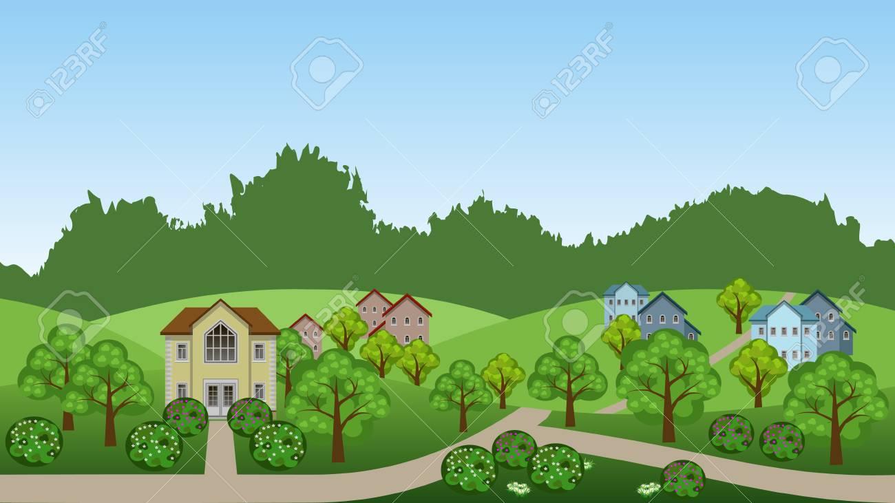 Vettoriale scena del paesaggio estivo del villaggio. cartone