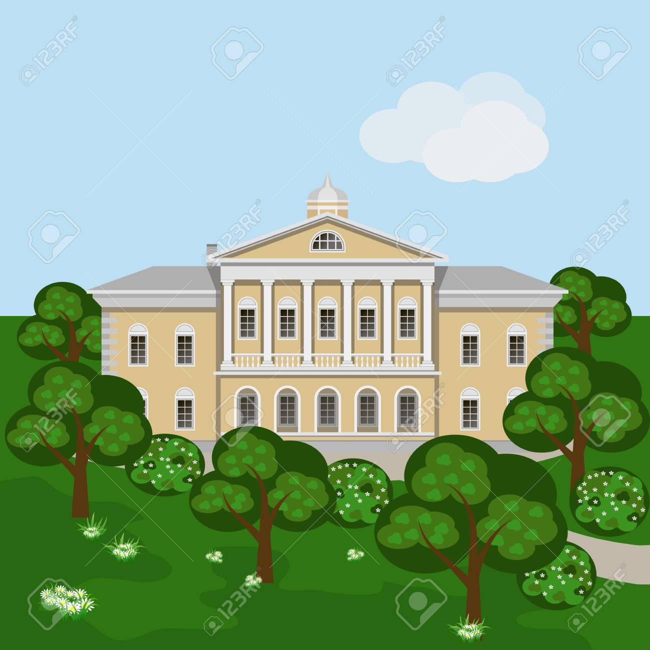 Cartoon Rich Manor House Or Palace In Green Summer Landscape Scene With Mansion Trees