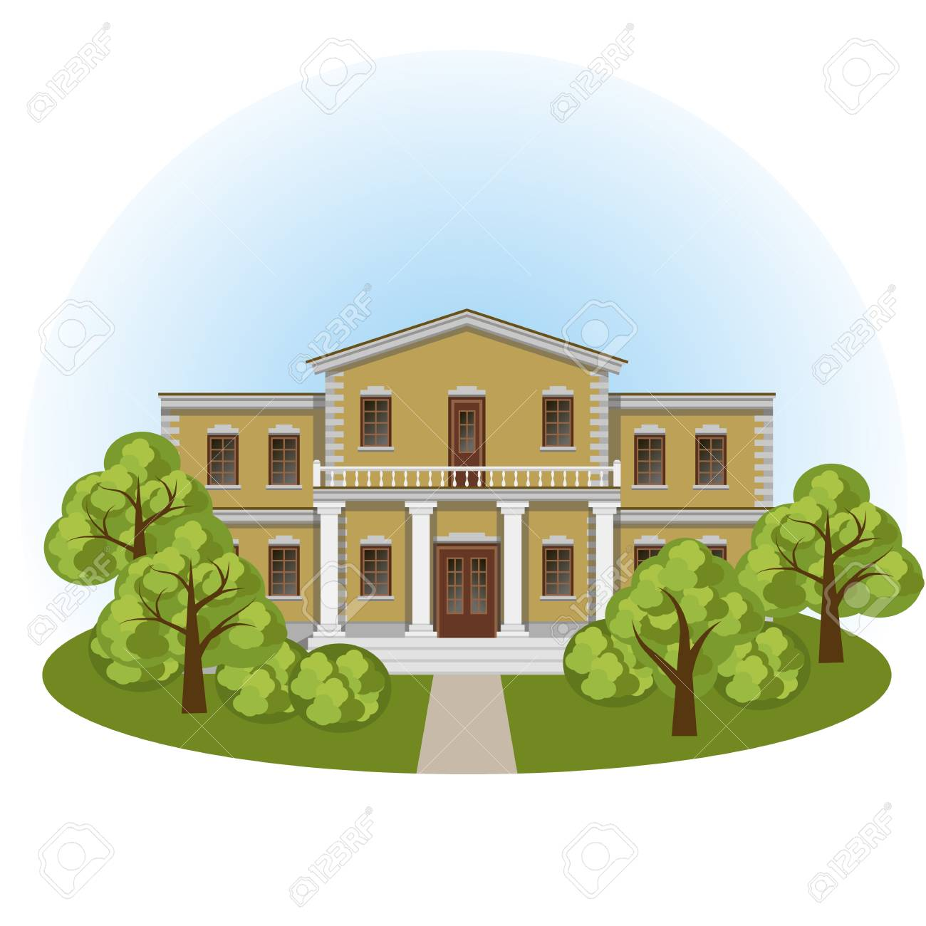 Manor House In Spring Landscape Front View Colorful Cartoon Scene With Mansion And Green