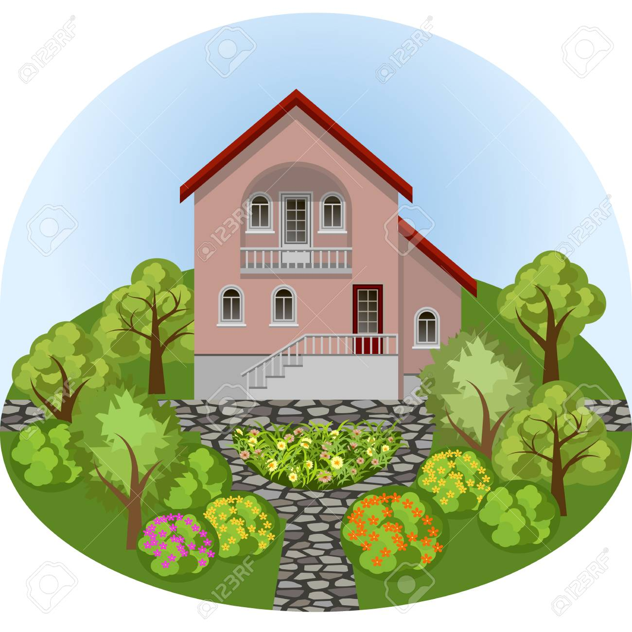 Surprising Family Manor House In Cartoon Summer Garden Landscape With Colorful Download Free Architecture Designs Rallybritishbridgeorg
