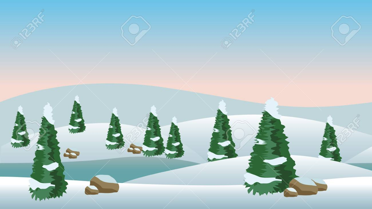 vector winter landscape for cartoon or game scene background