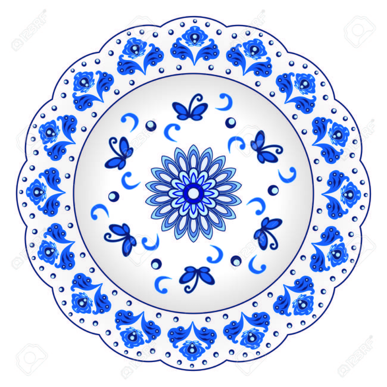 Decorative porcelain plate ornate in traditional Russian style Gzhel. Isolated white plate with blue floral  sc 1 st  123RF.com & Decorative Porcelain Plate Ornate In Traditional Russian Style ...