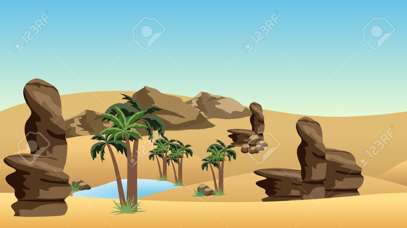 Desert landscape background with oasis. Sand dunes, lake and palms in oasis, rocks. Cartoon or adventure game asset background. Vector illustration - 110472321