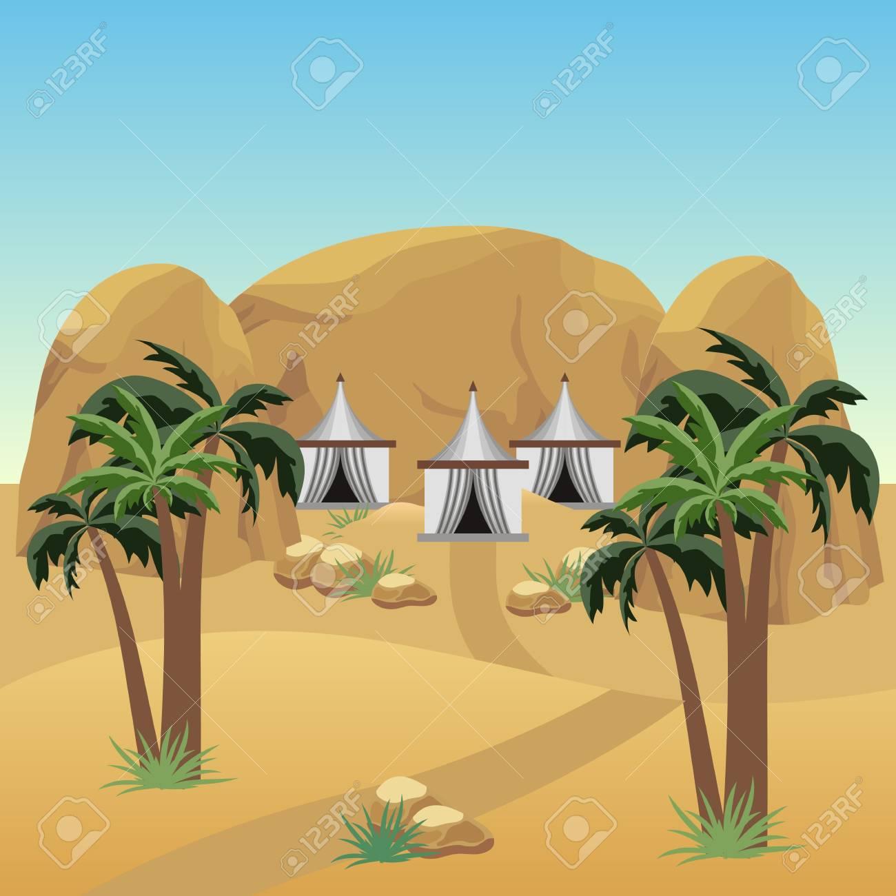 Nomad camp in desert. Landscape for cartoon or adventure game asset. Bedouins tents, sand dunes, palms, rocks. Vector illustration - 127107274