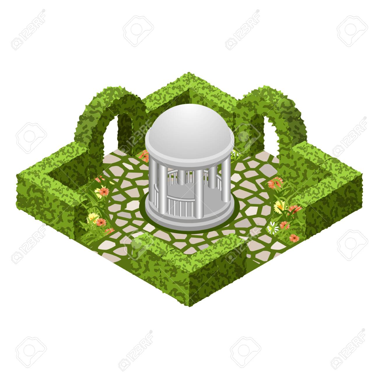 Isometric Garden Landscape Scene Topiary Garden Bushes Flowers Royalty Free Cliparts Vectors And Stock Illustration Image 127107355