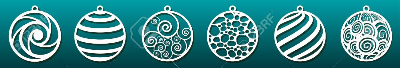 Set of laser cut templates. Christmas balls, abstract pattern in underwater design. Metal cutting, paper art, wood carving, fretwork stencil or die. Vector illustration - 132761419