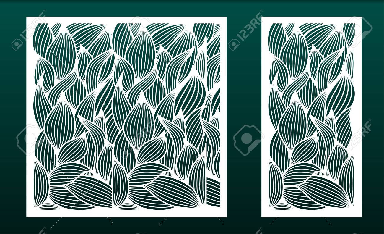 Set of panels for laser cutting. Templates for wood or metal cut, fretwork stencil, paper art. Floral pattern with leaves. For interior design, card background, die or stencil. Vector illustration - 136990448