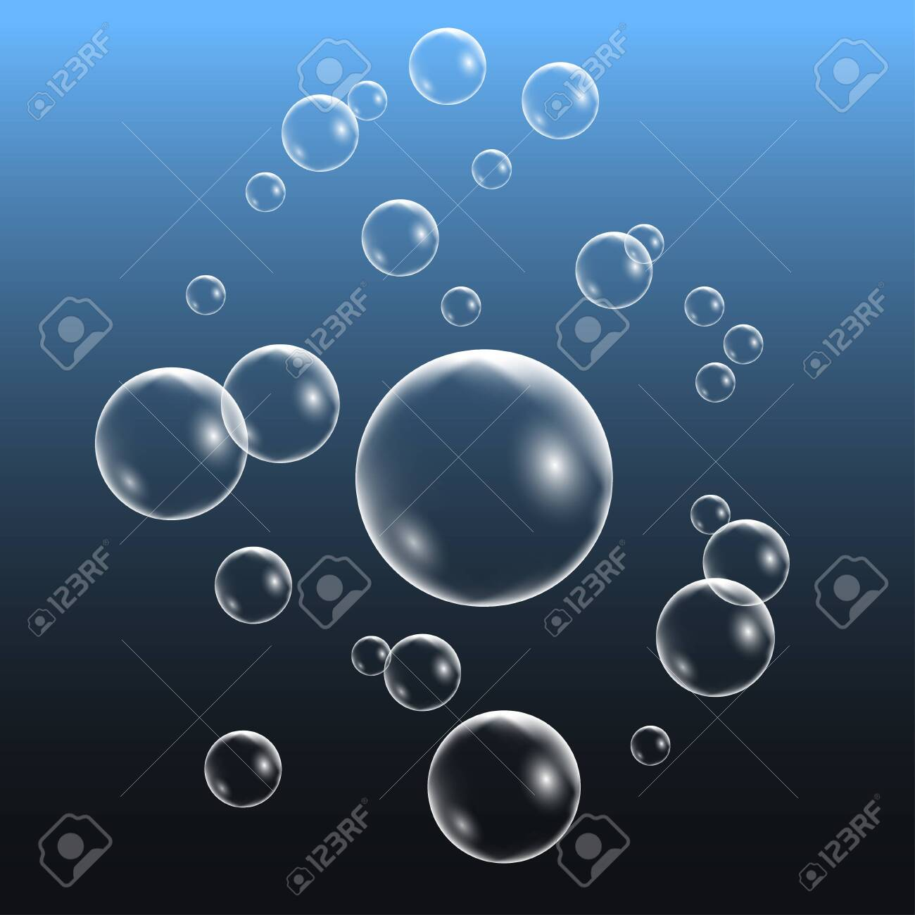 Realistic water bubbles, set of design elements isolated on blue background. Vector illustration - 139010227