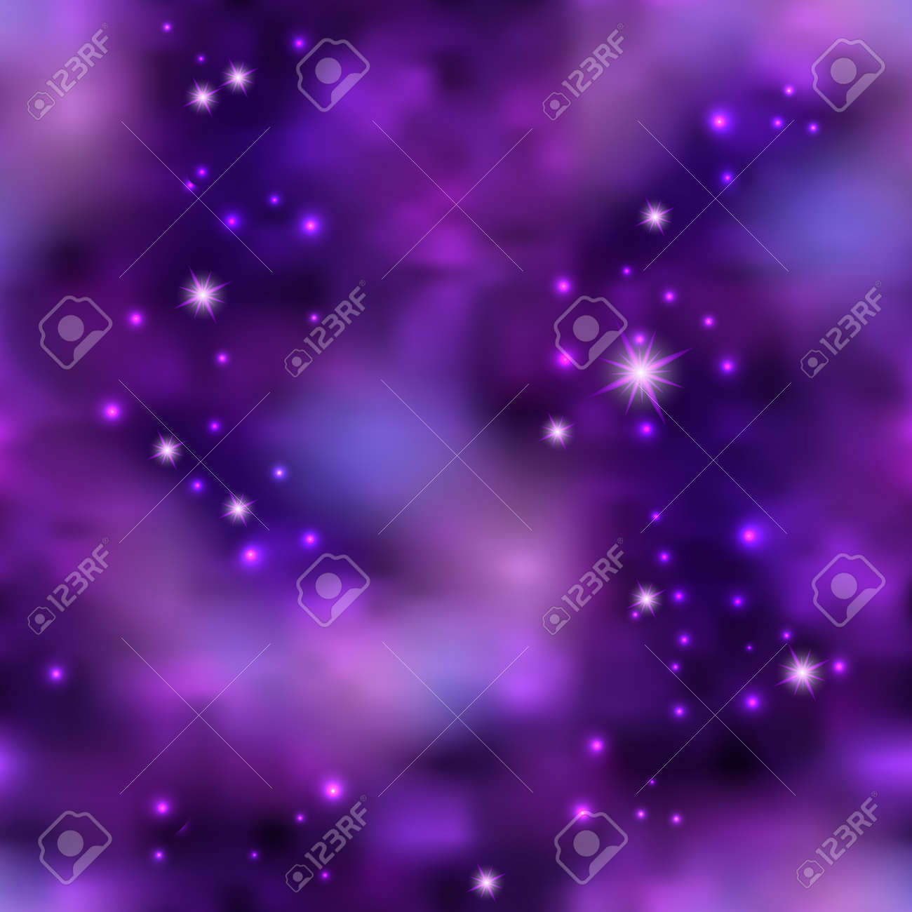 Magic galaxy space with shiny nebula star dust. Purple mysterious night sky, light flare and cloudy mist. Abstract background, seamless cosmic pattern, vector illustration - 162912074