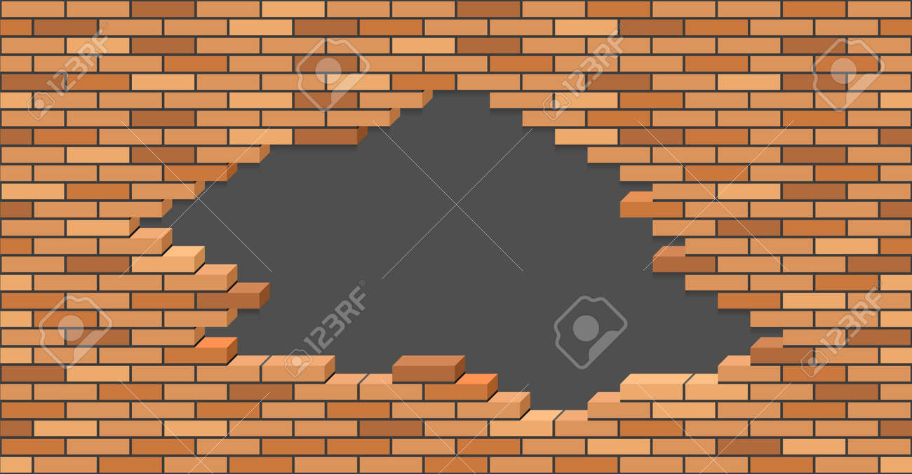 Broken brick wall with hole. 3D Isometric view. Brick stone wall of building or house destroyed. Flat vector illustration. - 166412846