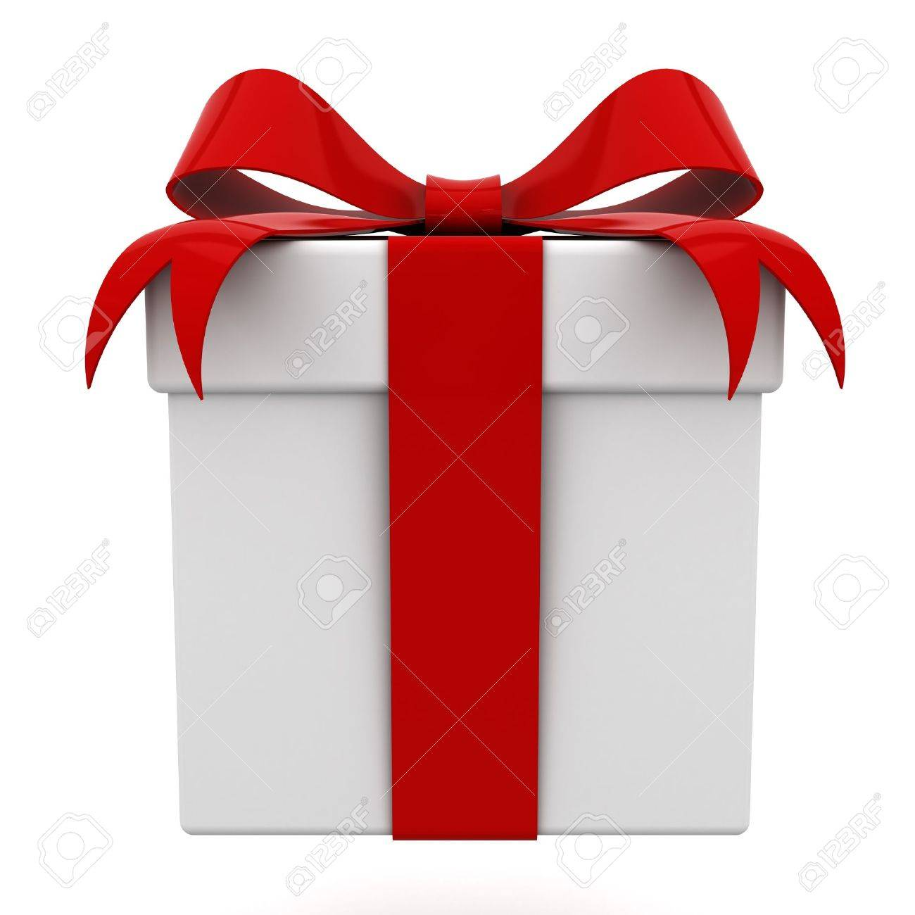 Gift box with red ribbon bow isolated on white background Stock Photo - 12432437