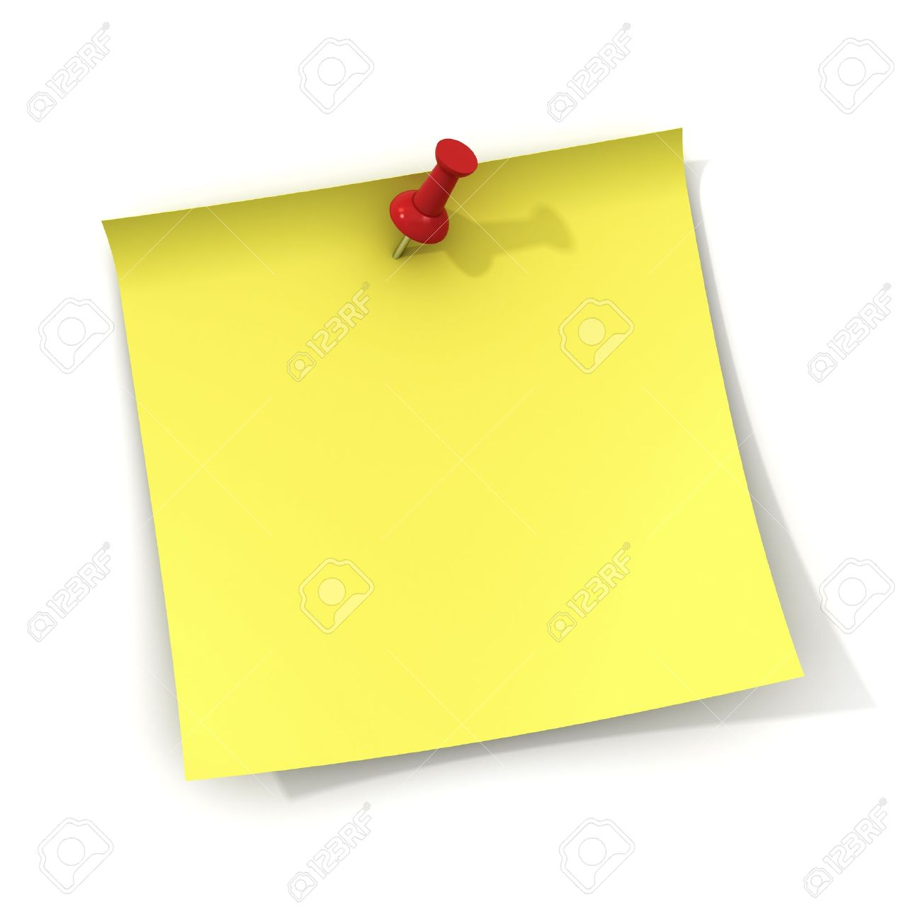 Yellow sticky note and red push pin isolated on white background with shadow Stock Photo - 12432422