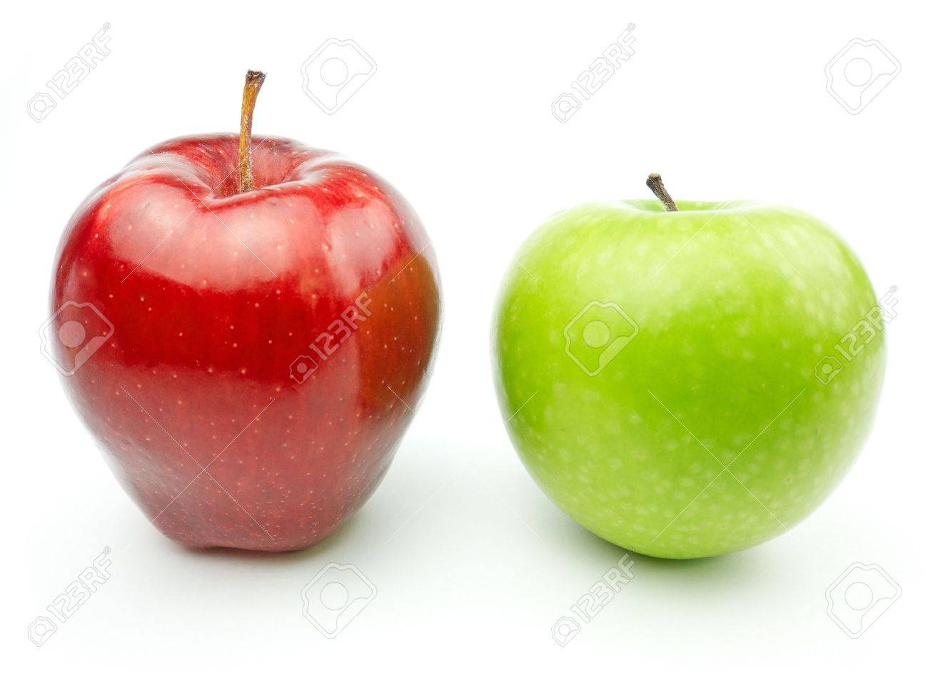 green and red apples. green and red apples on white background stock photo - 12432608