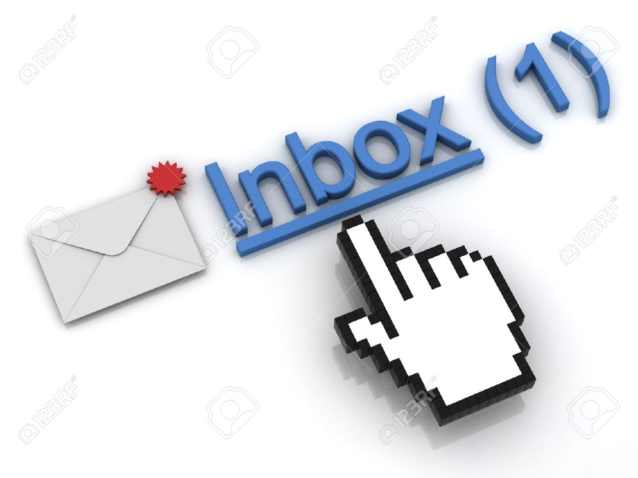 New Email Message In The Inbox Concept On White Background Stock ...
