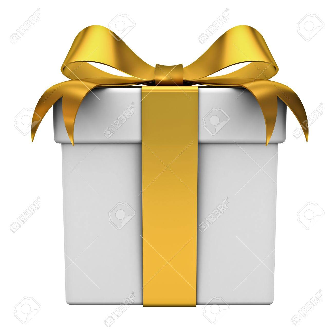 Gift box with golden ribbon bow on white background Stock Photo - 12432579