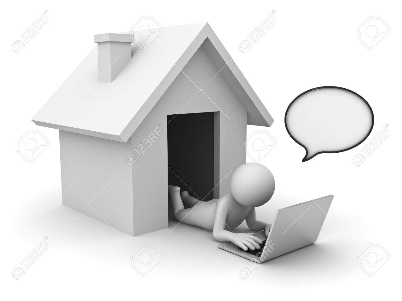 3d Man Using Laptop Computer With Speech Bubble At Home On White ...