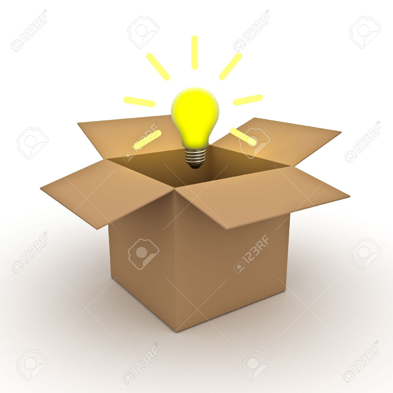 Think out of the box concept, idea light bulb above opened cardboard box isolated on white background Stock Photo - 12432460