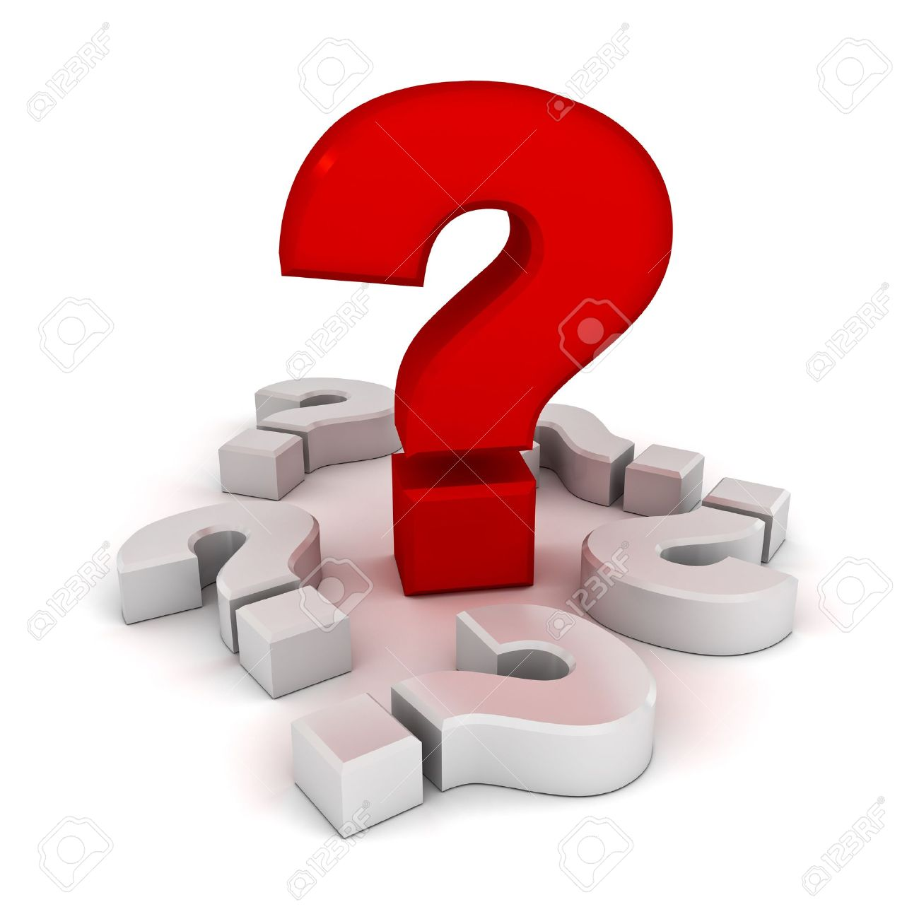 Big problem concept, red question mark amongst white question marks on white background Stock Photo - 13864652