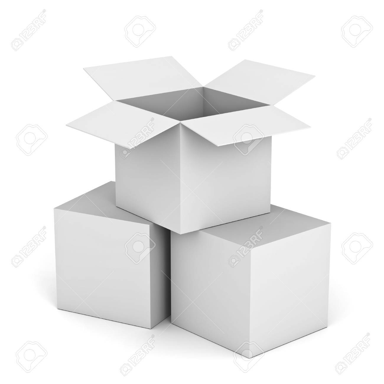 white cardboard box. white opened cardboard box on top of closed boxes isolated background stock photo