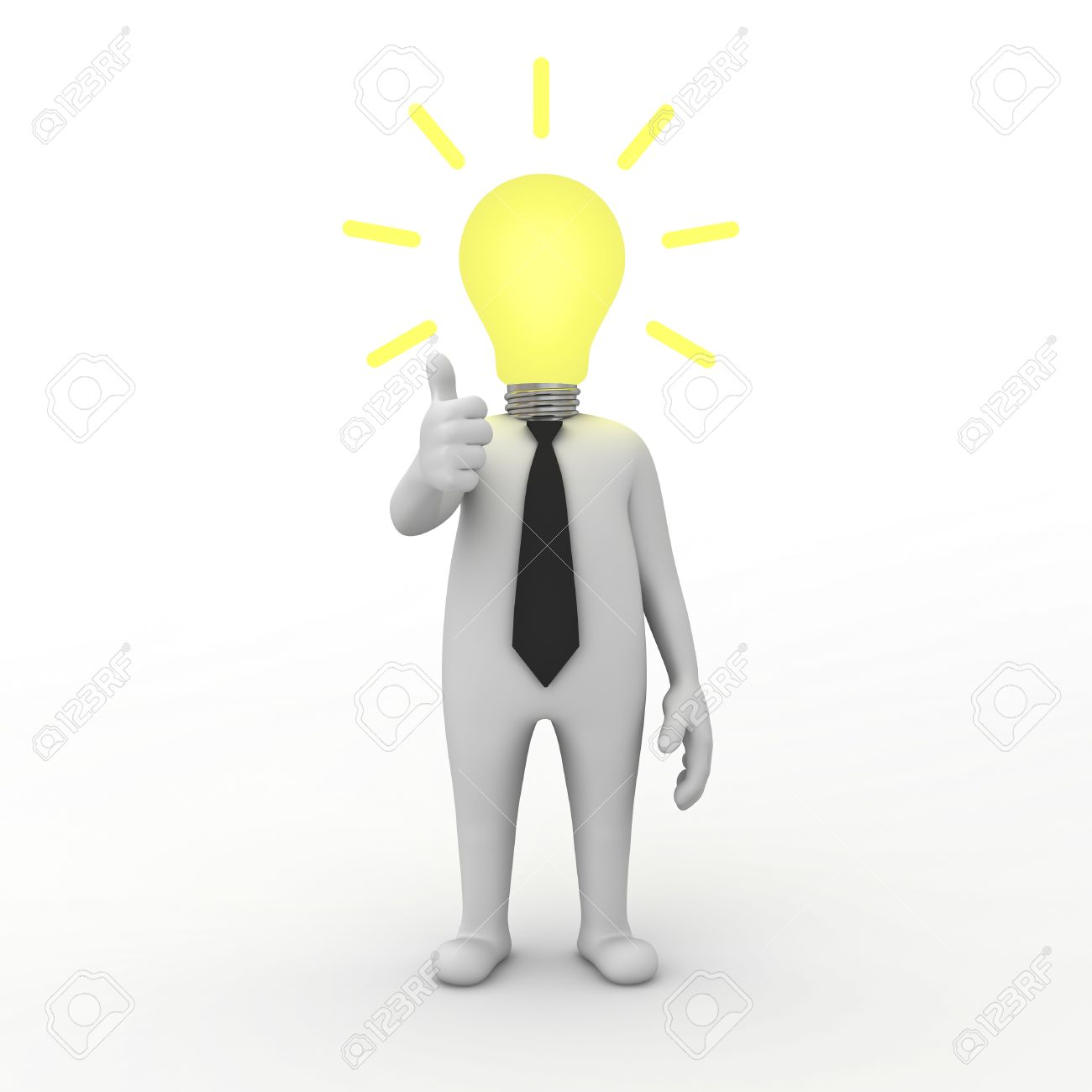 3d businessman with idea lightbulb isolated on white background Stock Photo - 14033227
