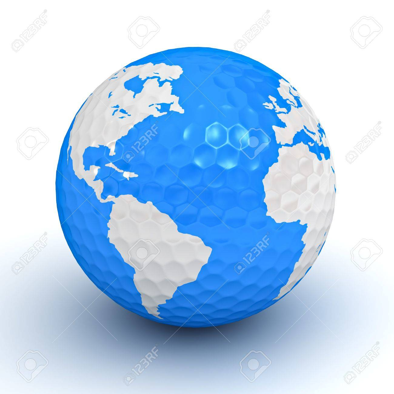 Globe map on golf ball on white background stock photo picture and globe map on golf ball on white background stock photo 14033200 gumiabroncs Images