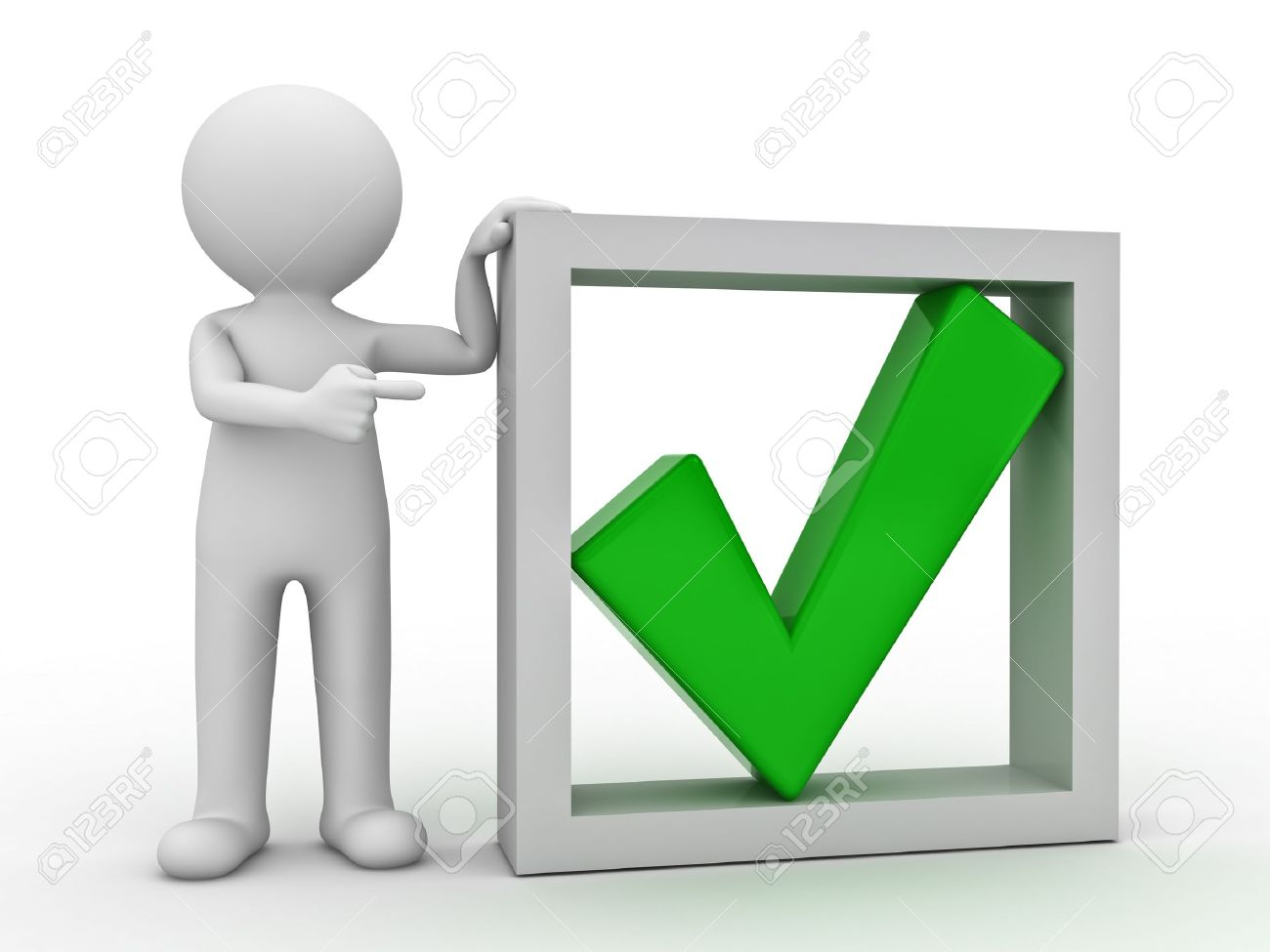 3d man pointing finger at green check mark in box on white background - 14308088