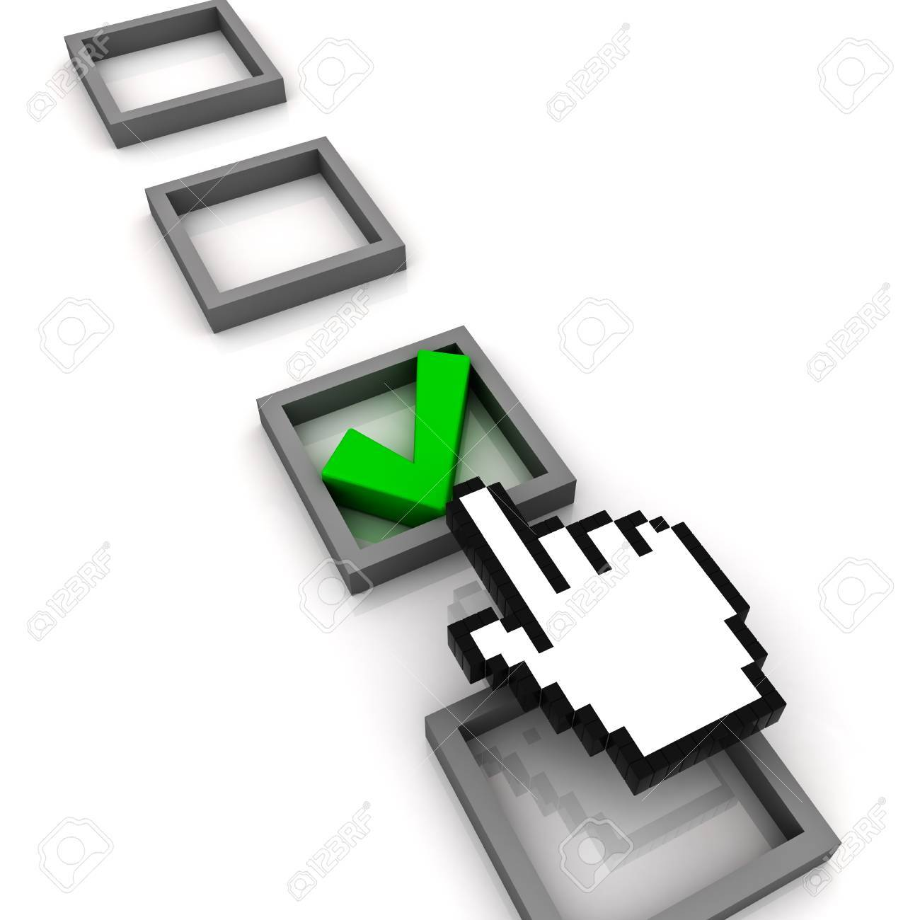 Hand cursor marking a check box on white background Stock Photo - 14308077
