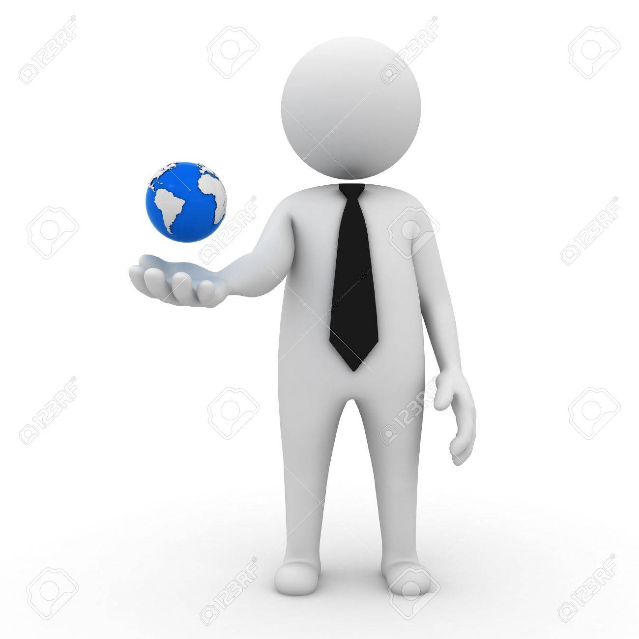 3d business man with earth globe in his hand on white background Stock Photo - 14821493