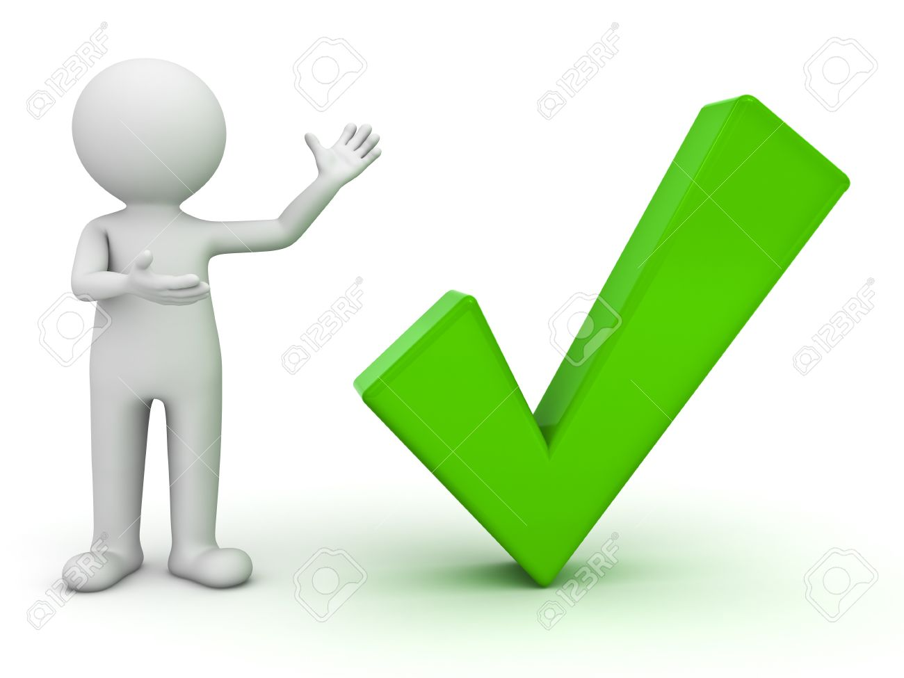 3d man presenting green check mark over white background Stock Photo - 14821478
