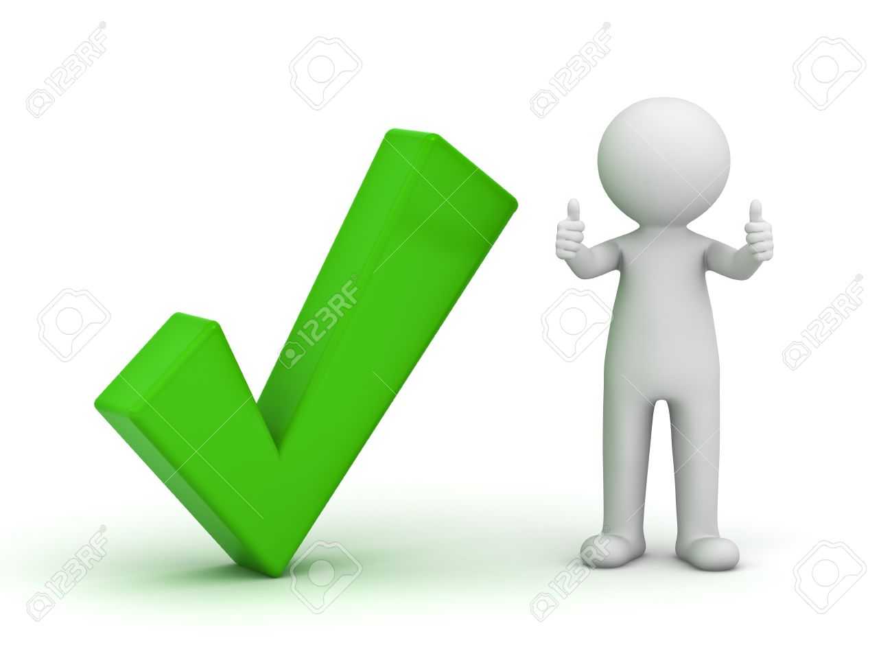 3d man showing thumbs up with green check mark on white background Stock Photo - 14821462