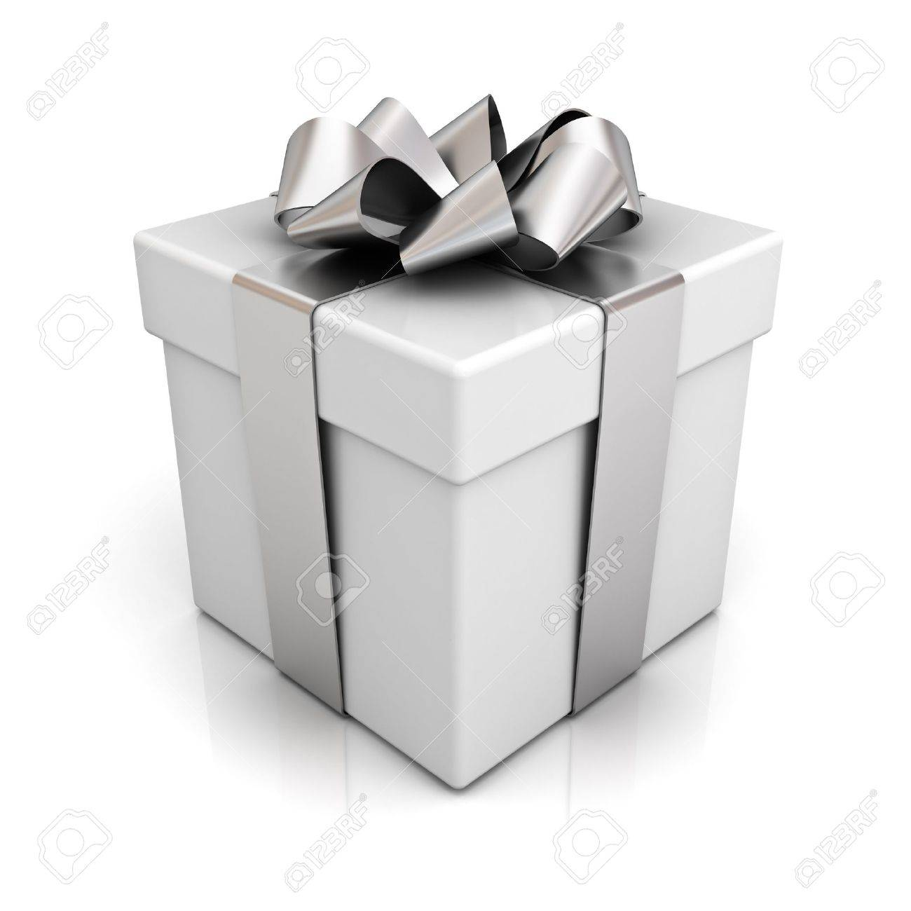 Gift box with silver ribbon bow isolated on white background Stock Photo - 14821498