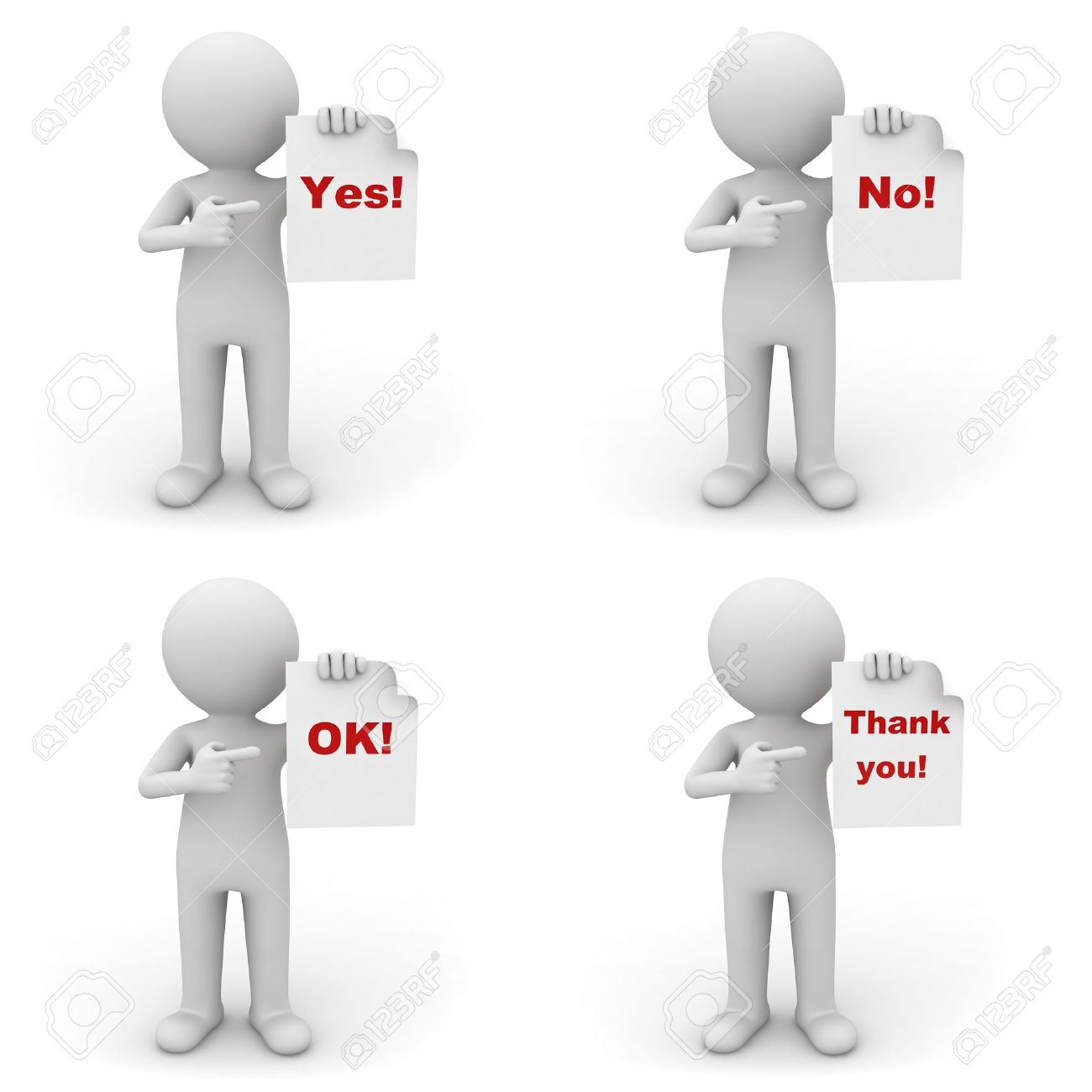 Collection of 3d man holding paper with red word yes, no, ok and thank you on white background Stock Photo - 14821590