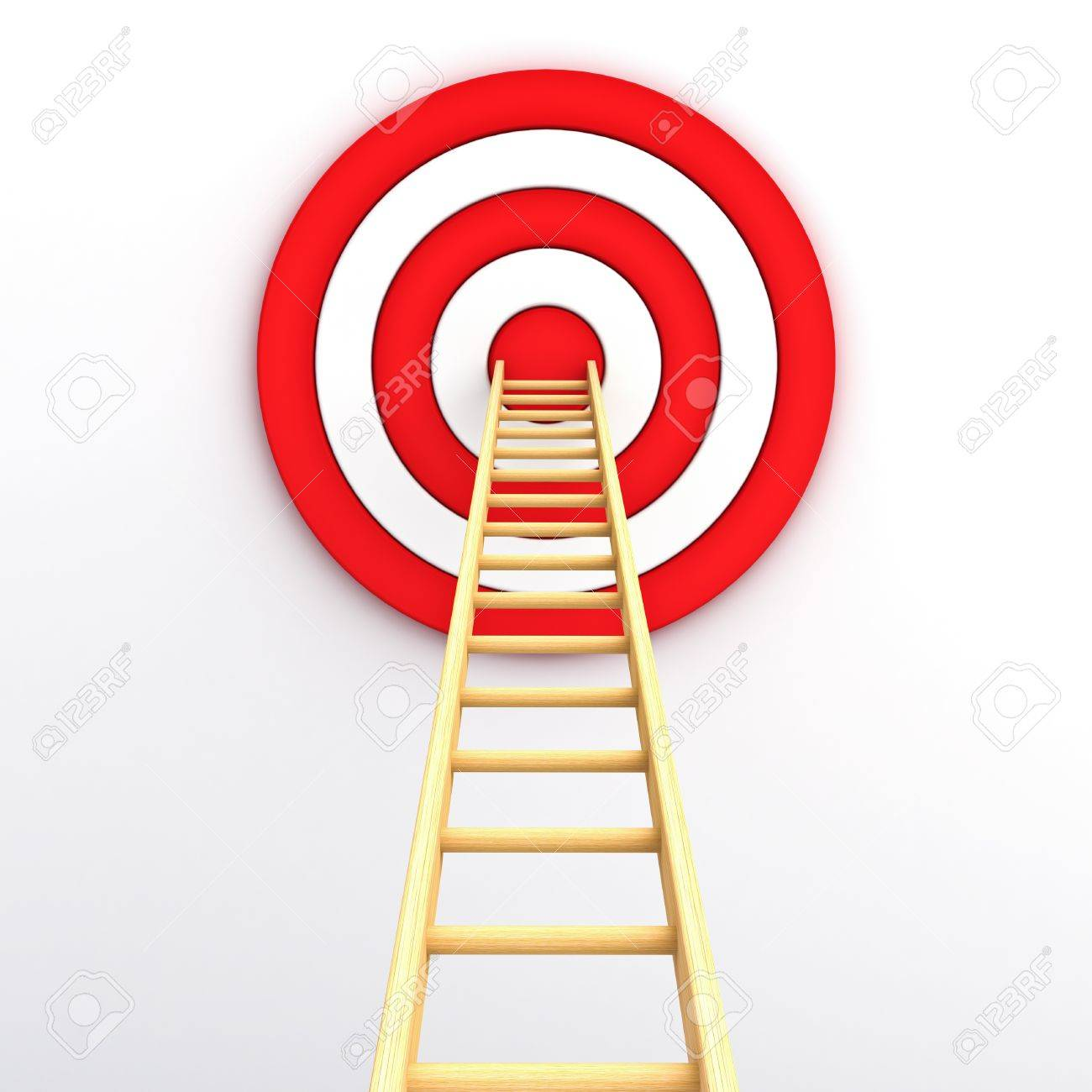 Ladder to the middle of the red target on white background Stock Photo - 15710561