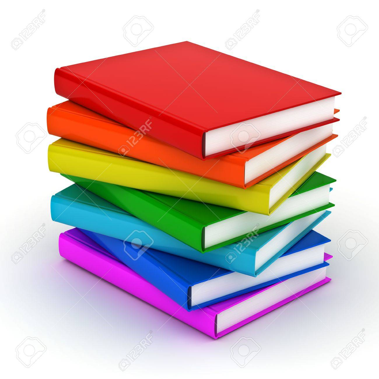Stack Of Colorful Books Over White Background Stock Photo, Picture ...